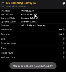 MAC address on fing block internet users on smartphone